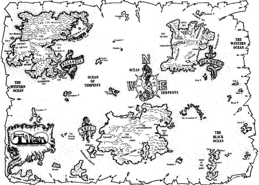 A map of Titan, the Advanced Fighting Fantasy world.